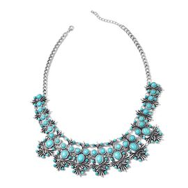 One Time Deal-Blue Howlite Necklace (Size 20) in Silver Plated 150.000 Ct.