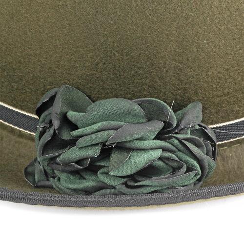 Designer Inspired-Green Colour Flower Adorned Hat (Size 16 Cm)