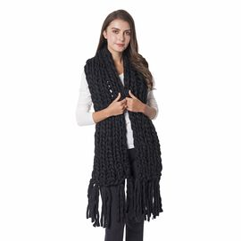 Black Colour Soft Scarf Size 160x25 Cm