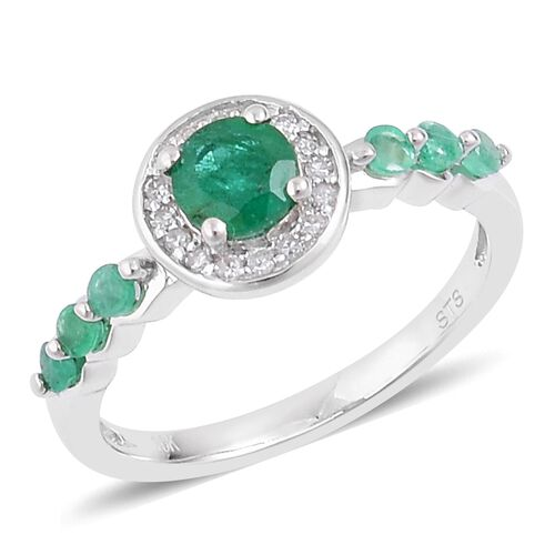 1.05 Ct Emerald and White Zircon Ring in Rhodium Plated Sterling Silver