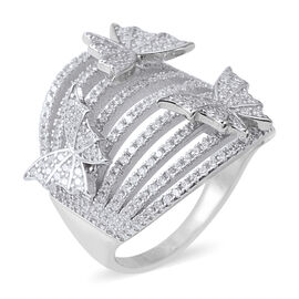 ELANZA Simulated Diamond (Rnd) Butterfly Charm Ring in Rhodium Overlay Sterling Silver, Silver wt 8.
