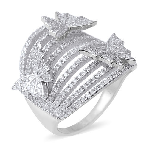 ELANZA Simulated Diamond (Rnd) Butterfly Charm Ring in Rhodium Overlay Sterling Silver 2.688 Ct., Silver wt 8.76 Gms.
