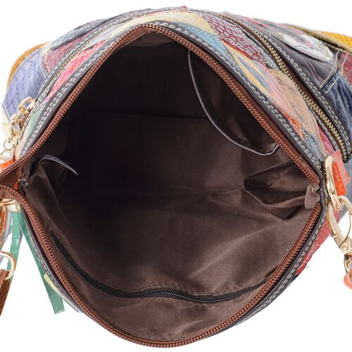 MOROCCO COLLECTION 100% Genuine Leather Multi Colour Blocking Crossbody Bag with External Zipper Pocket and Removable Shoulder Strap (Size 25x21.5x10 Cm)