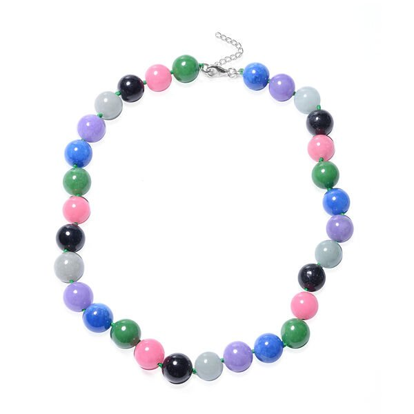 Multi Colour Jade Beaded Necklace in Rhodium Plated Sterling Silver 24 with 2 inch Extender