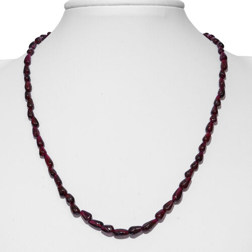 Rhodolite Garnet Beads Necklace (Size 18) in Rhodium Plated Sterling Silver 100.000 Ct.