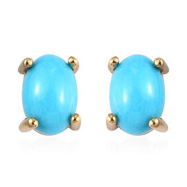 Sleeping Beauty Turquoise  Solitaire Stud Push Post Earring in 14K Gold Overlay Sterling Silver 1.05