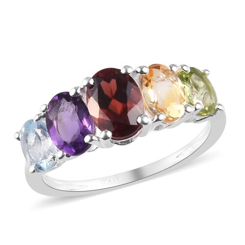 2.30 Ct Mozambique Garnet and Multi Gemstone 5 Stone Ring in Sterling Silver