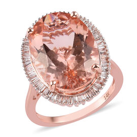 14K Rose Gold AAA Marropino Morganite and Diamond Ring 12.50 Ct, Gold wt. 4.67 Gms