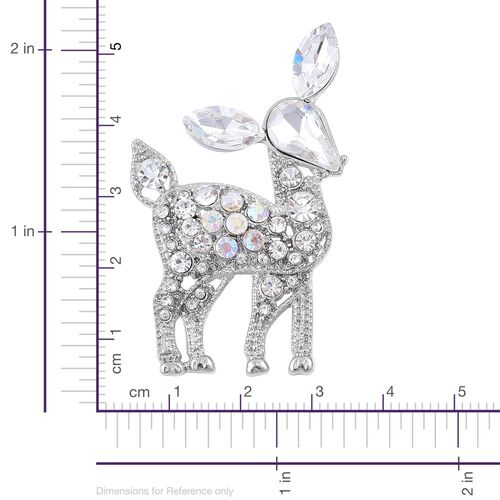 White and Magic Colour Austrian Crystal Deer Brooch in Silver Tone