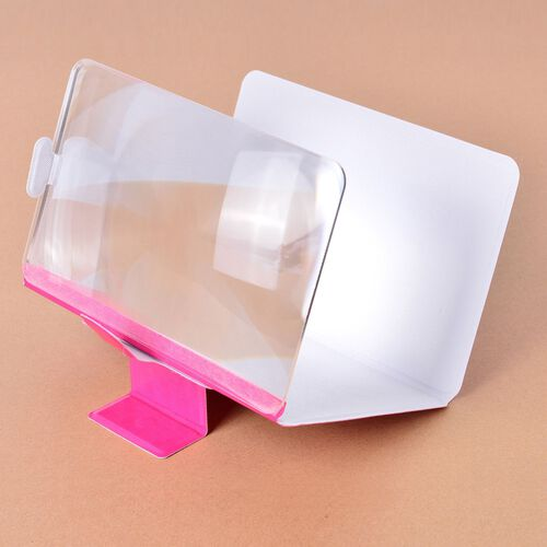Pink Colour Portable Smartphone Screen Magnifier (Up to 4 Times)  with Foldable Stand (Size 19x11.5x0.5 Cm)