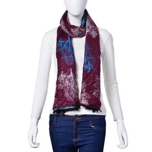 Tree Pattern Burgundy and Light Blue Colour Double Sided Scarf (Size 180x70 Cm)