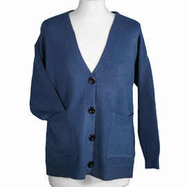 Kris Ana V Neck Cardigan in Blue - One Size (8-16)