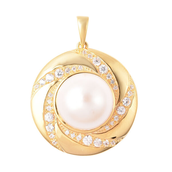 Edison Pearl and Natural Cambodian Zircon Pendant in Yellow Gold Overlay Sterling Silver, Silver wt