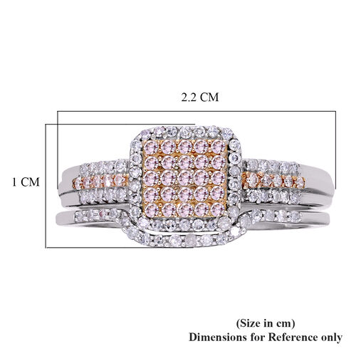 Set of 2 - 9K White Gold Natural Pink and White Diamond Ring 0.50 Ct.