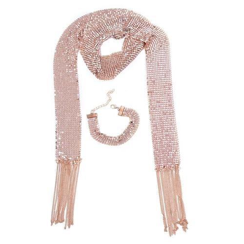 Glittering Scarf Style Necklace (Size 50) and Bracelet (Size 7.5 with 2 inch Extender) in Rose Gold Tone