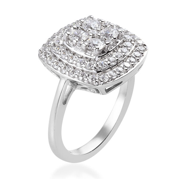 J Francis Platinum Overlay Sterling Silver Ring Made with SWAROVSKI ZARCONIA 2.15 Ct.