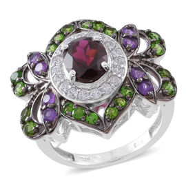 4.50 Ct Rhodolite Garnet and Multi Gemstone Zircon Ring in Rhodium Plated Silver 7 grams