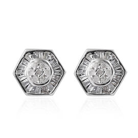 Diamond (Rnd) Hexagon Stud Earrings (with Push Back) in Platinum Overlay Sterling Silver 0.330 Ct.