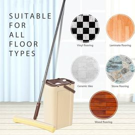 Magic Mop with Cleaning Bucket (Bucket Size 23x19x37.6 Cm),(Mop Size:140x33 Cm) - Brown