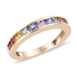 9K Yellow Gold AA Rainbow Sapphire (Princess Cut) Eternity Band Ring 1.350 Ct.