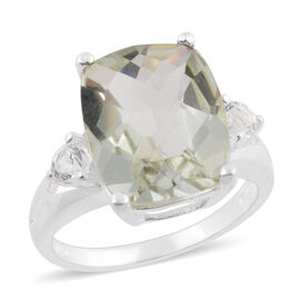 Green Amethyst (Cush 11x9 mm), White Topaz Ring in Sterling Silver 4.80 Ct.