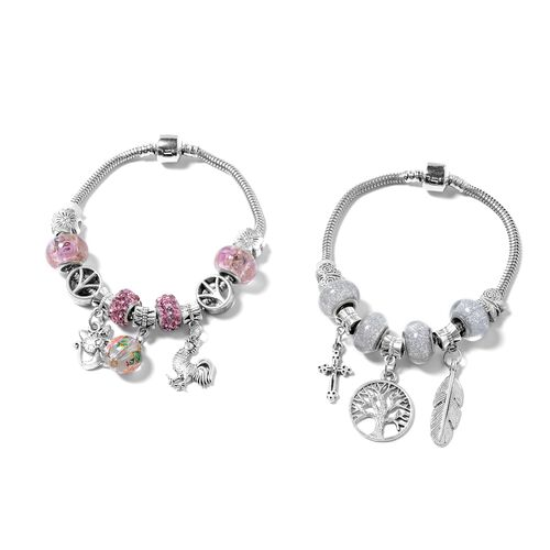 One Time Deal - Set of 2 - Pink Austrian Crystal and Murano Style Glass Bracelet (Size 7.50) with Multi Charm in Black Oxidised Silver Plated.