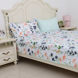4 Piece Set - Mint Colour Floral Pattern Single Duvet Cover (Size 135x200 Cm), 2 Pillow Case (Size 2