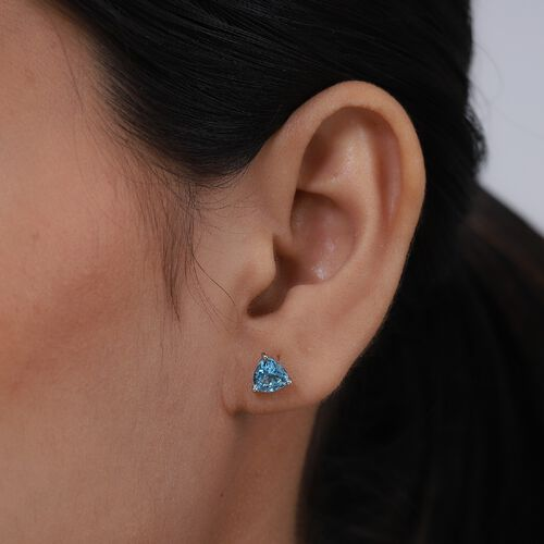Blue Topaz Earrings (with Push Back) in Platinum Overlay Sterling Silver 1.49 Ct.