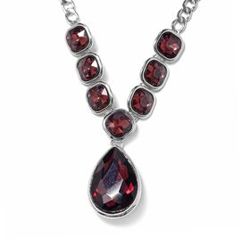 Simulated Rhodolite Garnet (Pear and Cush) Necklace (Size 20 with 2 inch Extender) in Silver Tone