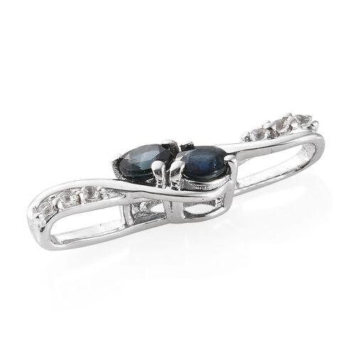 Kanchanaburi Blue Sapphire (0.65 Ct),White Topaz Platinum Overlay Sterling Silver Pendant  0.750  Ct.