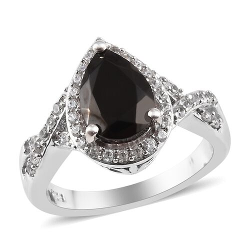 1.50 Ct Elite Shungite and Zircon Halo Ring in Platinum Plated Sterling Silver