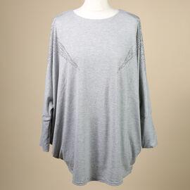 Nova of London Diamante Star Long Sleeve Jersey Top (Free Size/Length-72Cm) - Grey