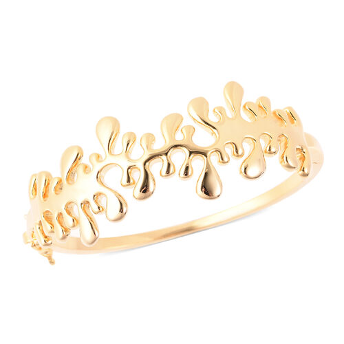 LucyQ Splash Bangle (Size 7) in Yellow Gold Overlay Sterling Silver, Silver wt 39.53 Gms