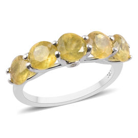 Yellow Sapphire and Natural Cambodian Zircon Ring in Platinum Overlay Sterling Silver 3.02 Ct.