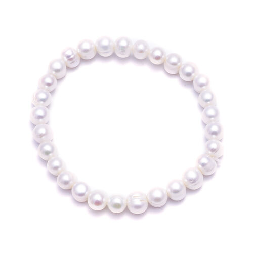 3 Piece Set -  Freshwater White Pearl Bracelet (Size 7), Stud Earrings (with Push Back) and Necklace (Size 18 with 2 inch Extender)