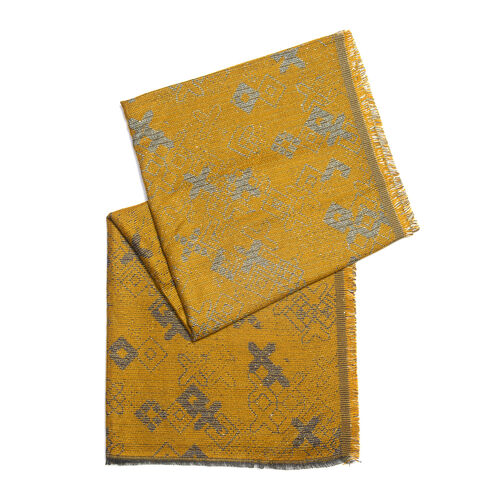Designer Inspired- Yellow and Grey Colour Lurex Shawl (Size 185x70 Cm)