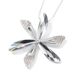 Simulated Grey Spinel, White Austrian Crystal Flower Pendant with Chain (Size 29 and 2.5 inch Extender) in Silver Tone