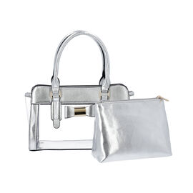 2 Piece Set - Metallic Silver Colour Bowknot Satchel Bag (Size 28x12x16cm) with Zipper Closure and P