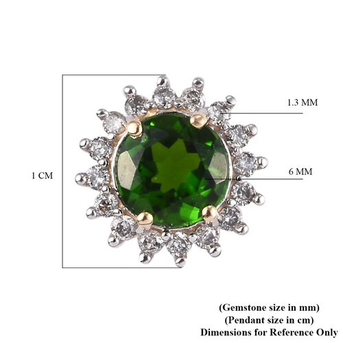 9K Yellow Gold Russian Diopside and Diamond Halo Pendant 1.40 Ct.