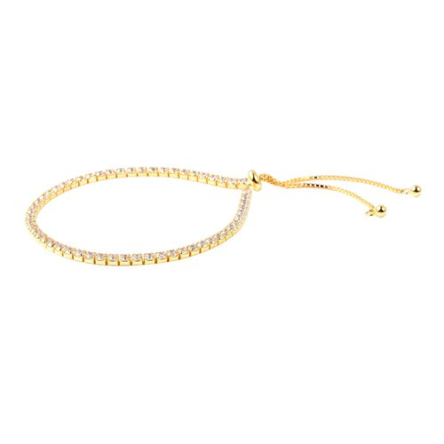 Lustro Stella Simulated Diamond (Rnd) Adjustable Bracelet (Size 6.5-8.0) in Yellow Gold Overlay Sterling Silver