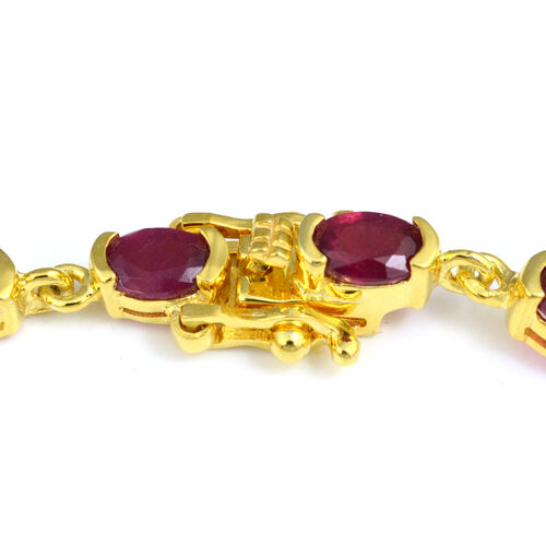 African Ruby (Ovl 6x4mm) Bracelet (Size 7.5) in Yellow Gold Overlay Sterling Silver 10.20 Ct, Silver wt 8.56 Gms
