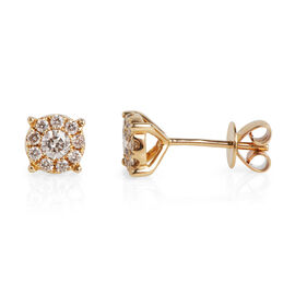 14K Yellow Gold (I1/G-H) Diamond (Rnd) Stud Earrings (with Push Back) 0.510 Ct.
