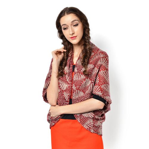 Red and Grey Colour Knitted Kimono (Free Size)