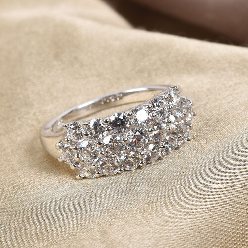 J Francis Platinum Overlay Sterling Silver Cluster Ring Made with SWAROVSKI ZIRCONIA 3.31 Ct.