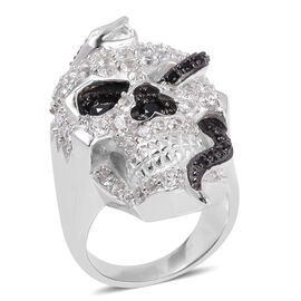 Halloween Collection- Boi Ploi Black Spinel (Rnd), Natural White Cambodian Zircon Skull Ring in Rhodium and Black Plating Sterling Silver 6.050 Ct, Silver wt 17.86 Gms.