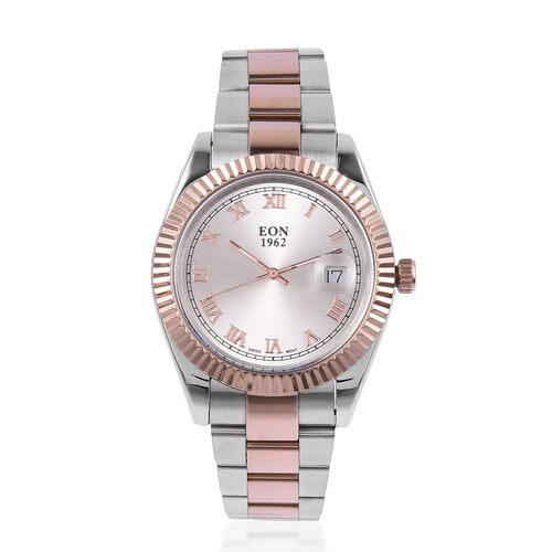 EON 1962 Swiss Movement Sapphire Glass 3ATM Water Resistant Watch in Rose Gold Tone with Stainless Steel