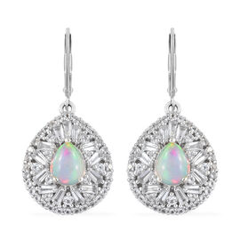 Limited Available- Ethiopian Welo Opal (Pear 9x7 mm), White Topaz Earrings (with Lever Back) in Platinum Overlay Sterling Silver 5.500 Ct, Silver wt 7.08 Gms,