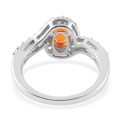 Fire Opal (Ovl 7x5mm) and Natural Cambodian Zircon Ring in Platinum Overlay Sterling Silver 1.248 Ct.