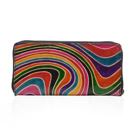Sukriti 100% Genuine Leather Multi Colour Waves Wallet with RFID Blocking (Size 22.22x10.79 Cm)