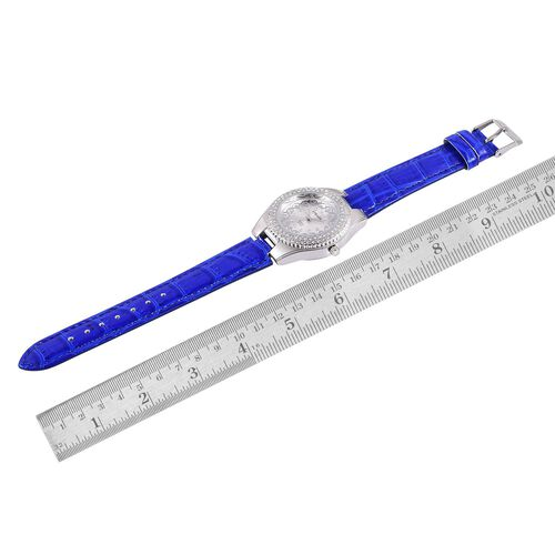 STRADA Japanese Movement White Austrian Crystal Studded Silver Dial Water Resistant Watch in Silver Tone with Stainless Steel Back and Blue Colour Strap